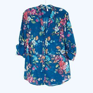 KUT FROM THE KLOTH Sheer Button Down Floral Blouse